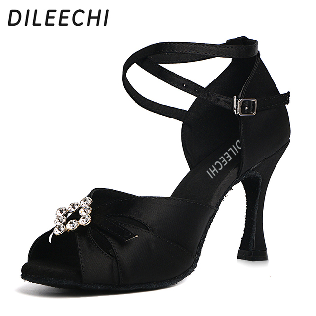 DILEECHI latin dance shoes black satin big rhinestones women patry Salsa  Square Ballroom dancing shoes heel b92579a8b4d8