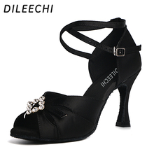 Dance-Shoes Rhinestones DILEECHI Heel Salsa Ballroom Outsole Latin Square Black Women