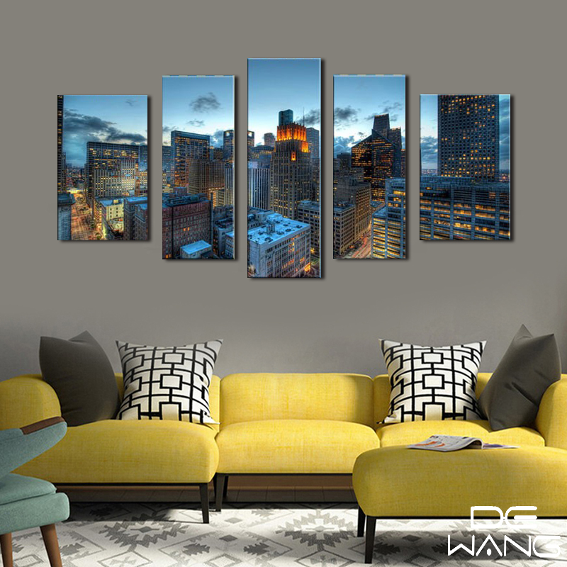 new arrival b23ef d407d 5 Panels Modern Building Nightscape Wall Art Painting Black and ...
