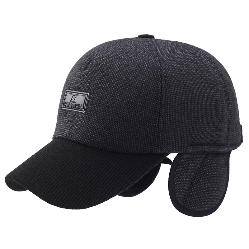 Autumn Winter Baseball Cap Men With Ear flaps Thicken Winter Hat Keep Warm Woolen Outdoor Snapback Cap Bone Casquette Wholesale