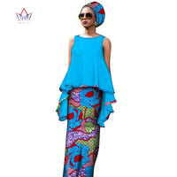 Bazin Riche African Clothes for Women Summer Two Piece Sets Cotton Plus Size Dashiki O neck 7xl Top Straight Skirts Dress WY2575