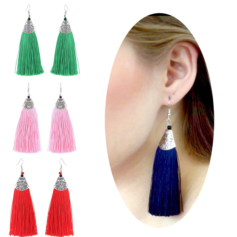 Bohemian Classic Fish Mouth New 1Pair Women Vintage 9 Colors Retro Allergy Free Long Tassel Earrings Fashion Jewelry