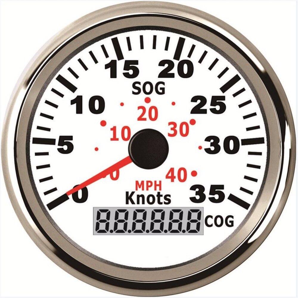 1 шт. 85 мм цифровой gps спидометры одометры 0-35knots скорость mileometers настройки инструмента с GPS антенна белый
