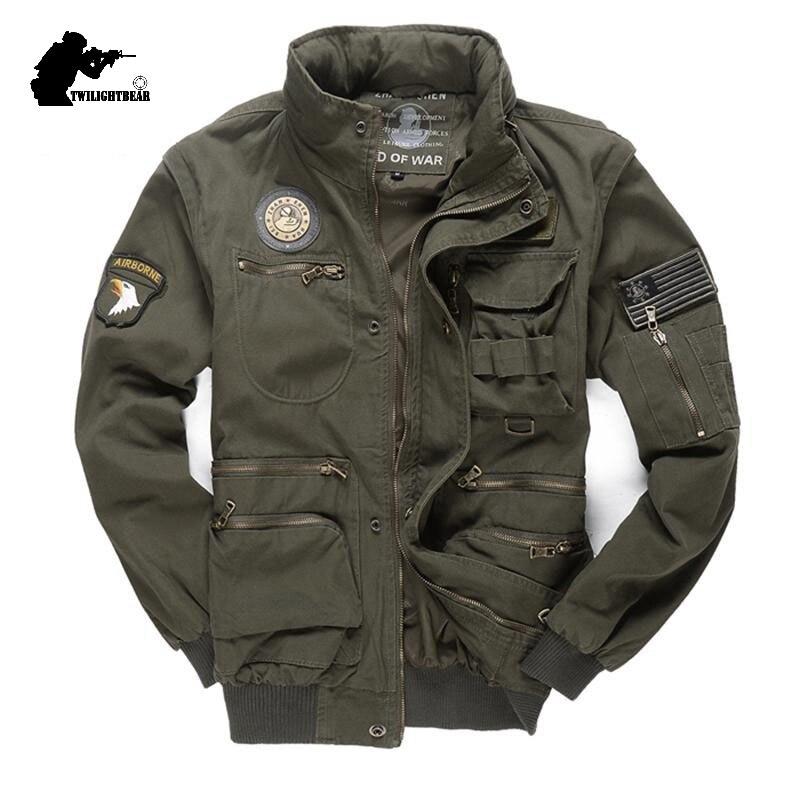 Nouveau militaire hommes 101 vol vestes à capuche amovible manches mâle décontracté veste manteau hommes marque outillage veste vêtements 4XL BF657-in Vestes from Vêtements homme    1