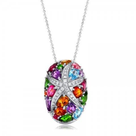 Couleur naturelle pierre étoile de mer pendentif collier Cocktail cristal en argent Sterling Lux mode océan bijoux reine pierre de naissance cadeau