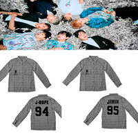 BTS same paragraph Shirt gray long sleeves Summer and autumn Bangtan Boys Sunscreen plaid cotton bottoming shirt men and women