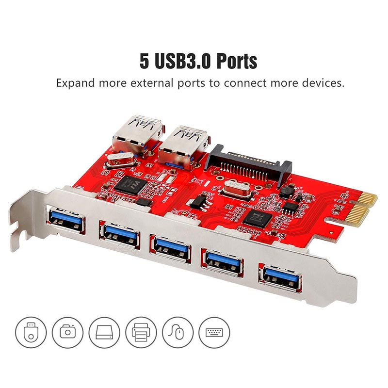 PCI-E 7-Ports <font><b>USB</b></font> 3.0 Express Expansion Card Hub +2X 15pin SATA <font><b>Cables</b></font> up to 5Gbps For Windows XP 7 8 10 image
