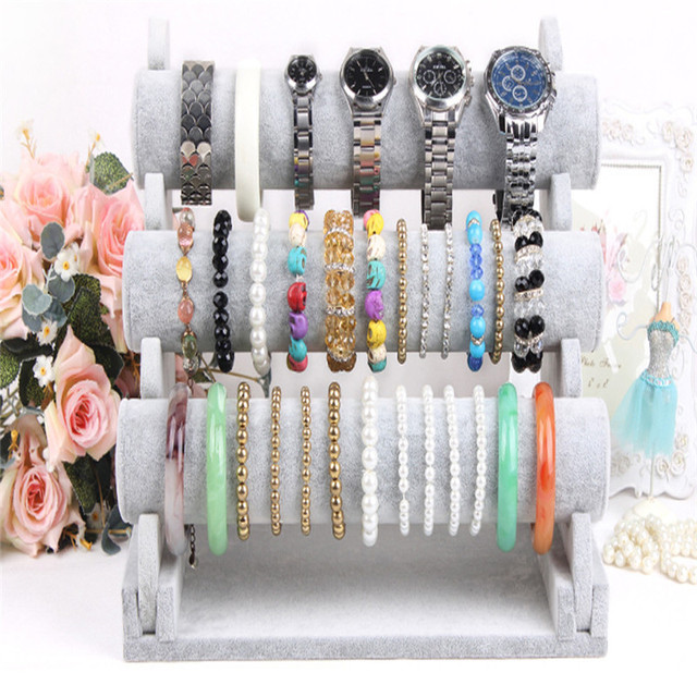 3 Tier Gray Bar Bracelet Watch Jewelry display stand ice velvet