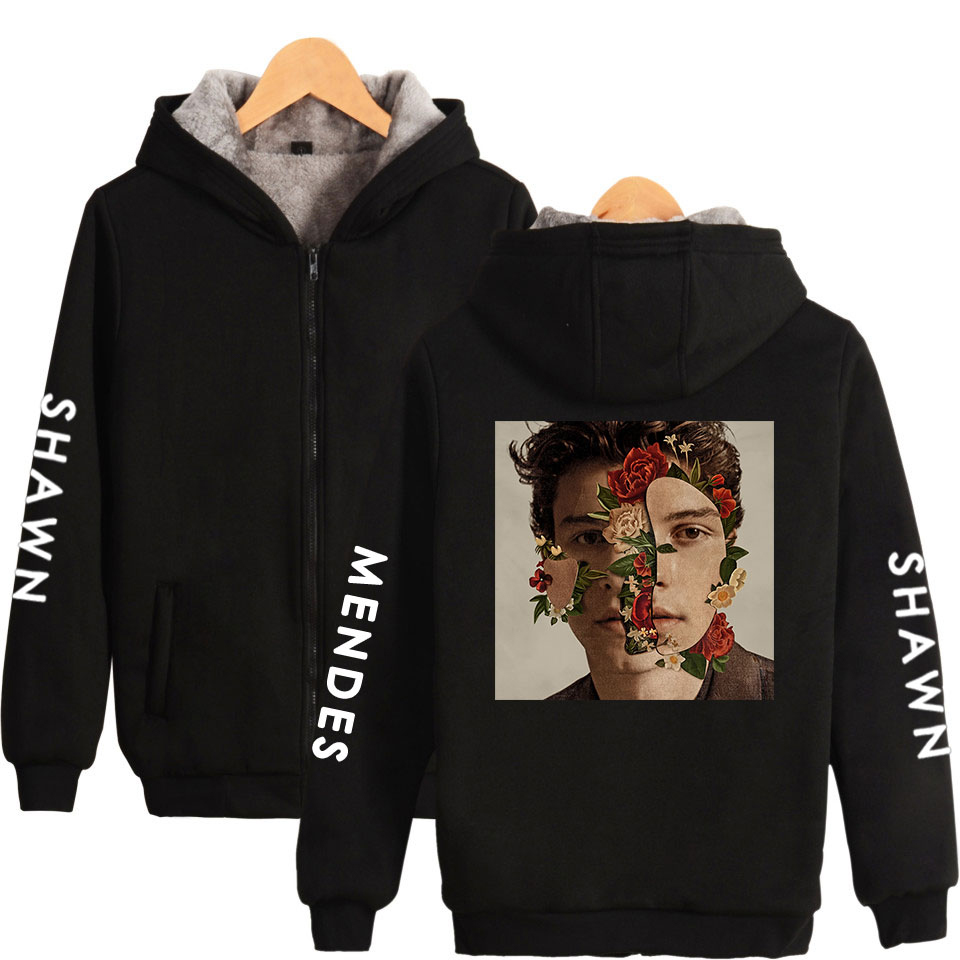 Hip Hop Kawaii Zipper Hoodies Sweatshirts Shawn Mendes Harajuku Pop Kpop femmes/hommes Fans vêtements 2018 imprimer grande taille 4XL