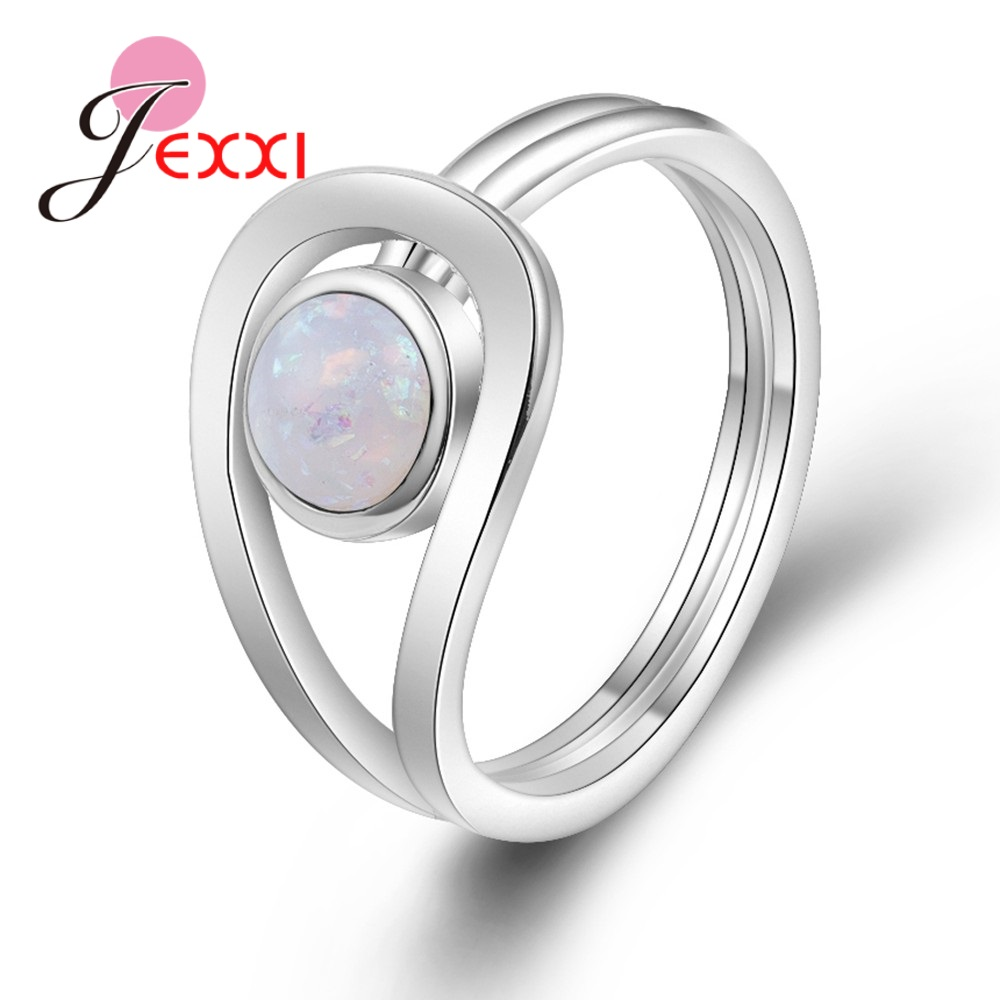 JEXXI Special Design Vintage Green Stone Paved Authentic 925 Sterling Silver Band Rings Fashion Jewelry For Women Female Wedding