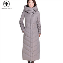 Hooded X-Long Down jacket women 2018 Winter coat women Thick