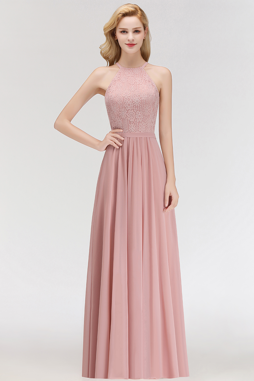 Elegant Blush Pink Halter Floor Length Bridesmaid Dresses A-line Lace Top  Sleeveless Wedding Party Dress Elegant for Women