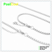 Chain Width 3MM Square Pearl Style Fashion Jewelry Sets 100% Stainless Steel Necklace40/50/60/70/80/90cm/Bracelet18/20/22cm15DIY(China)