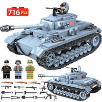 Military German Technik Tank Building Blocks Compatible Legoingly WW2 Army City Soldier Police Weapon Bricks Sets Toys Boys