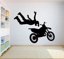 Autocollants muraux en vinyle 2CE10, autocollants de performance de Motocross, décoration murale en vinyle, sports extrêmes pour jeunes, dortoir, chambre à coucher
