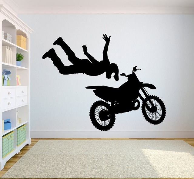 Motocross competitive performance vinyl wall stickers extreme sports youth dormitory bedroom home decoration wall decal 2CE10