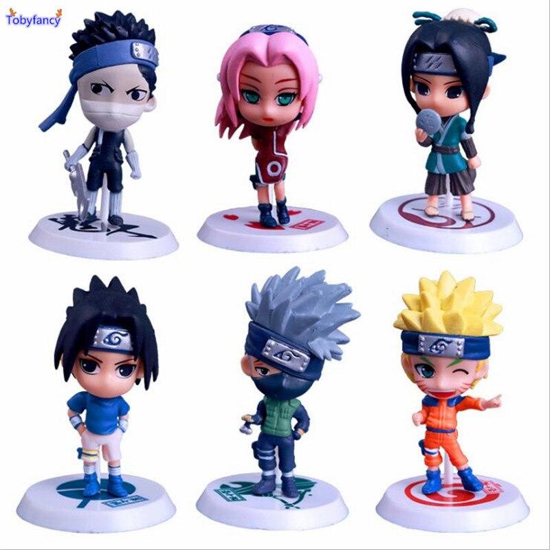 Tobyfancy Naruto Shippuden Action Figure Naruto Sasuke Kakashi Sakura Zabuza PVC Anime Collection Model Toys 6pcs/set