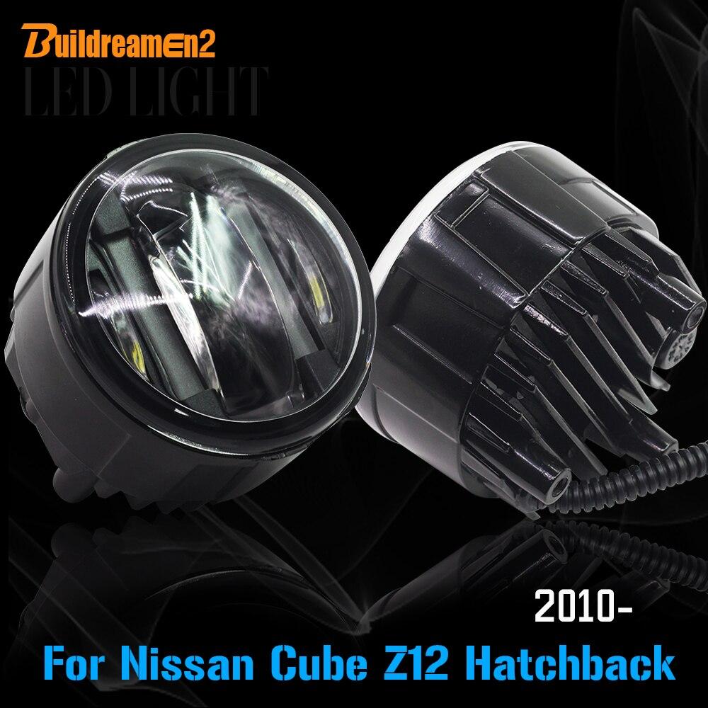 Buildreamen2 2 pièces voiture Source de lumière LED brouillard lumière diurne lampe DRL style pour Nissan Cube Z12 Hatchback 2010 Up