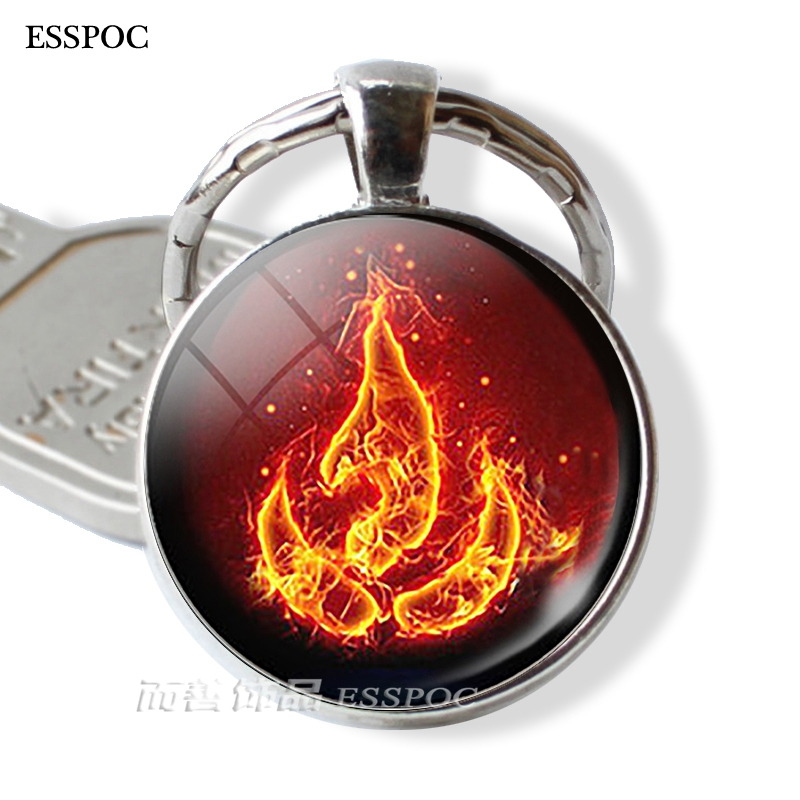 Fashion Avatar: The Last Airbender Fire Nation Emblem Aang Korra Zuko Pendant Glass Keychain Metal Key Chain Anime Manga Gift