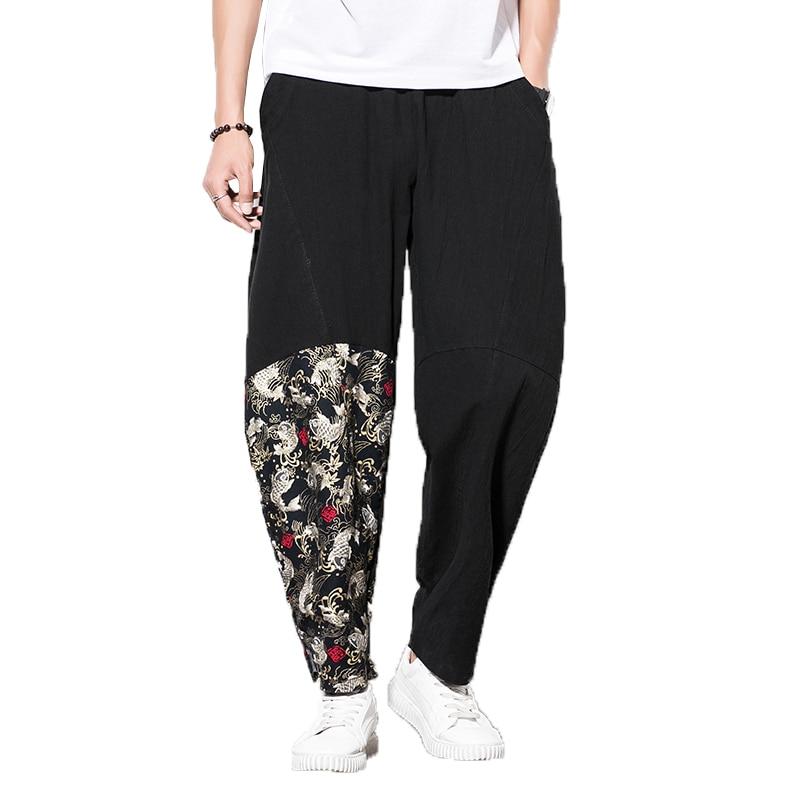 Men's Pants Linen Casual Trousers Male Joggers Elastic-Waist Baggy Hip-Hop Print