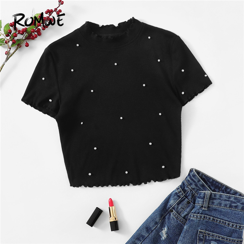 ROMWE Black Solid Lettuce Trim Pearl Beading Crop Tee Women 2019 Summer Elegant Stand Collar T-Shirts Ladies Slim Fit Tops