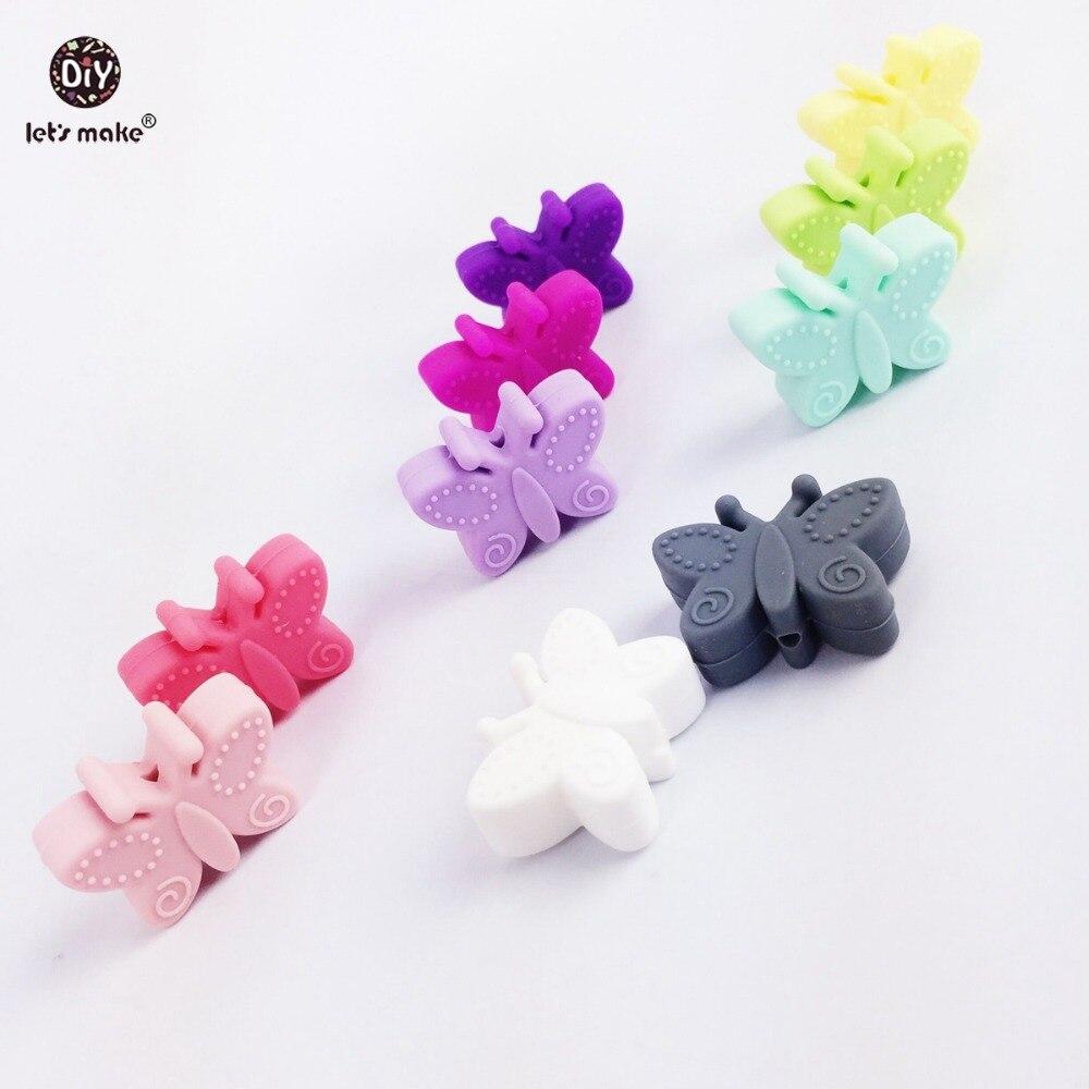 Давайте сделаем силиконовые бабочки 20 шт. небольшие шарики для прорезывания зубов отверстия DIY бусы 3 см бабочка BPA бесплатно силиконовые де... ...