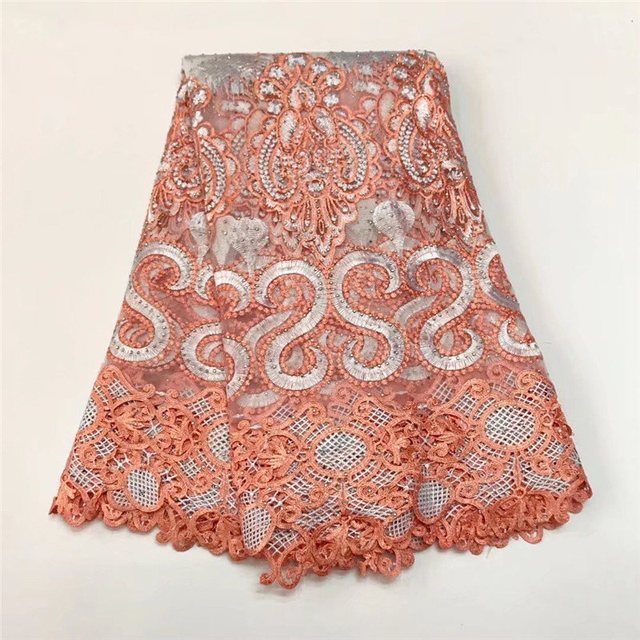 Cutout Holes Beaded Handcut organza sewing Lace African Swiss embroidered  lace voile fabric high quality 5