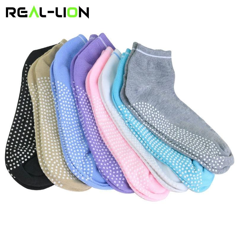 1 Pair Women Yoga Socks Anti Slip Silicone Gym Pilates Ballet Socks Fitness Sport Socks Cotton Breathable Elasticity 5 Colours