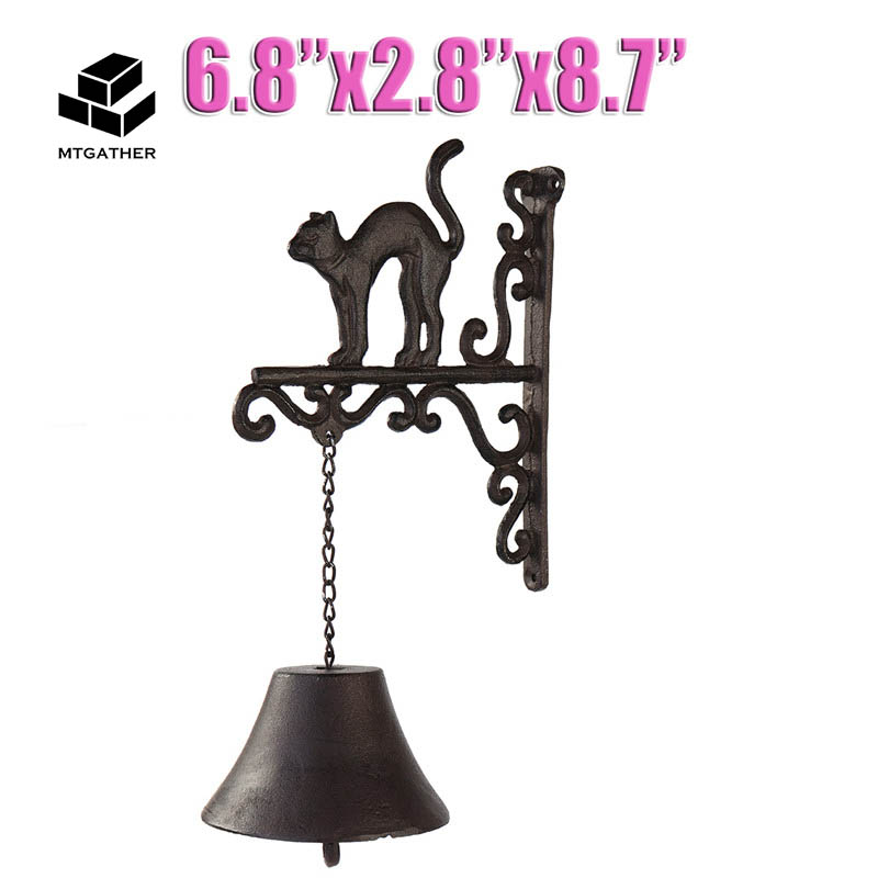 Mtgather Cast Iron Door Bell Metal Rustic Wall Mounted Cat Design Doorbell For Welcome Outdoor Home Decorations Gift