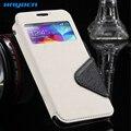 S4 casos luxo ver janela Leather Flip celulares caso para Samsung Galaxy I9500 S4 SIV Slot para cartão Holster tampa traseira para Galaxy S4