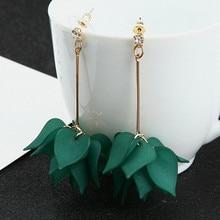 цена на Geometric New Design Drop Earrings For Women Transparent Flower Rhinestone Long Chain Tassel Bead Pendant Earrings Wholesale