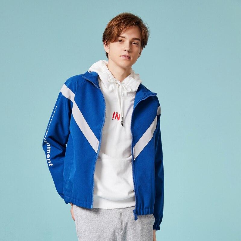 SEMIR Men Color Block Zip Jacket With Stand-up Collar Men's Sport Jacket With Full-Zip With Slant Pocket Windbreker For Spring