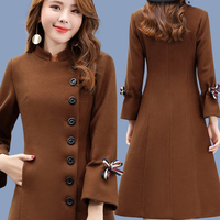 Womens wool coats long Flare Sleeve black brown Standing collar plus size Spring and autumn 2018 hot