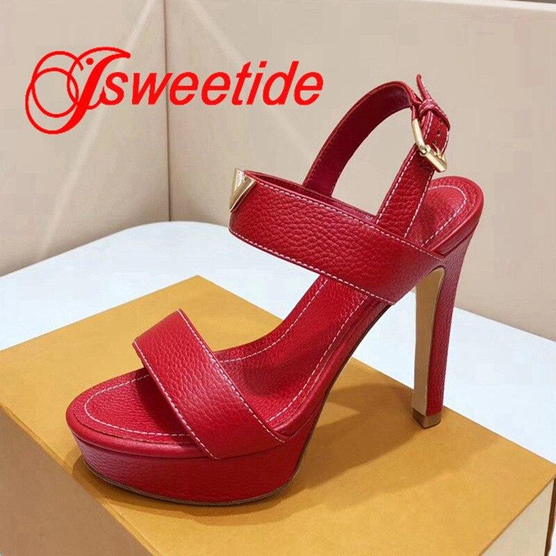 الشهيرة مصمم النساء زقزقة اصبع القدم SandalsLitchi الحبوب جلد البقر للماء منصة عالية الكعب جلد طبيعي الصنادل المريحة-في كعب عالي من أحذية على  مجموعة 3