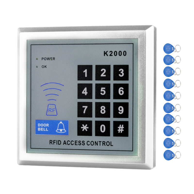 RFID Standalone Access Control Keypad 125KHz Card Reader Door Lock with 10 Proximity Key Fobs for Door security System-K2000 rfid standalone access control card reader with digital keypad 125khz 13 56mhz smart card lock with lcd screen for secure system