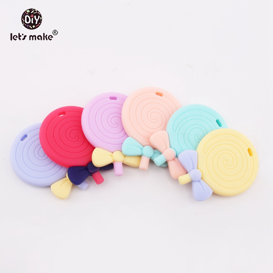 Let's Make Baby Teething Toy Lollipops Food Grade 1pc Silicone Teether Pendant BPA Free Nursing Accessories Necklace Pendants