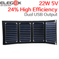 ELEGEEK 22 W 5 V de Alta Eficiencia de Sunpower Panel Solar Plegable Portátil doble salida usb cargador de panel solar para iphone & 5 v dispositivo