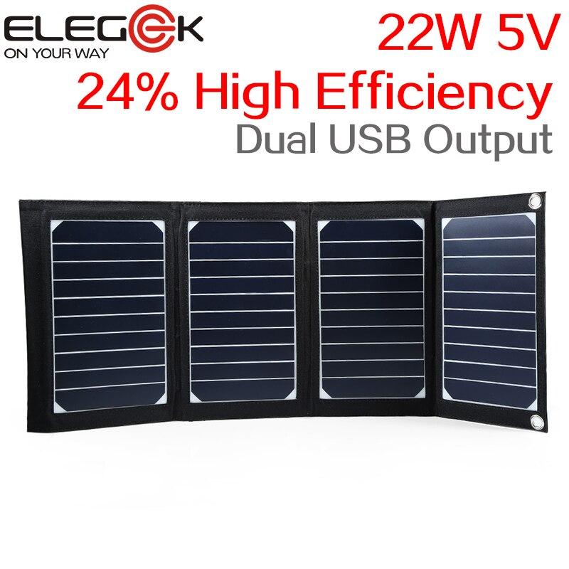 ELEGEEK 22W 5V Folding Solar Panel Portable High Efficiency Sunpower Dual USB Output Solar Panel Charger