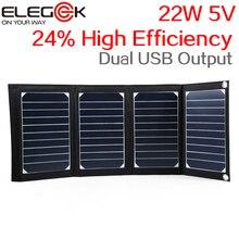ELEGEEK 22 Вт 5 В Складной Панели Солнечных Батарей Портативный Высокая Эффективность Sunpower двойной Выход USB Солнечное Зарядное Устройство для iPhone & 5 В устройство