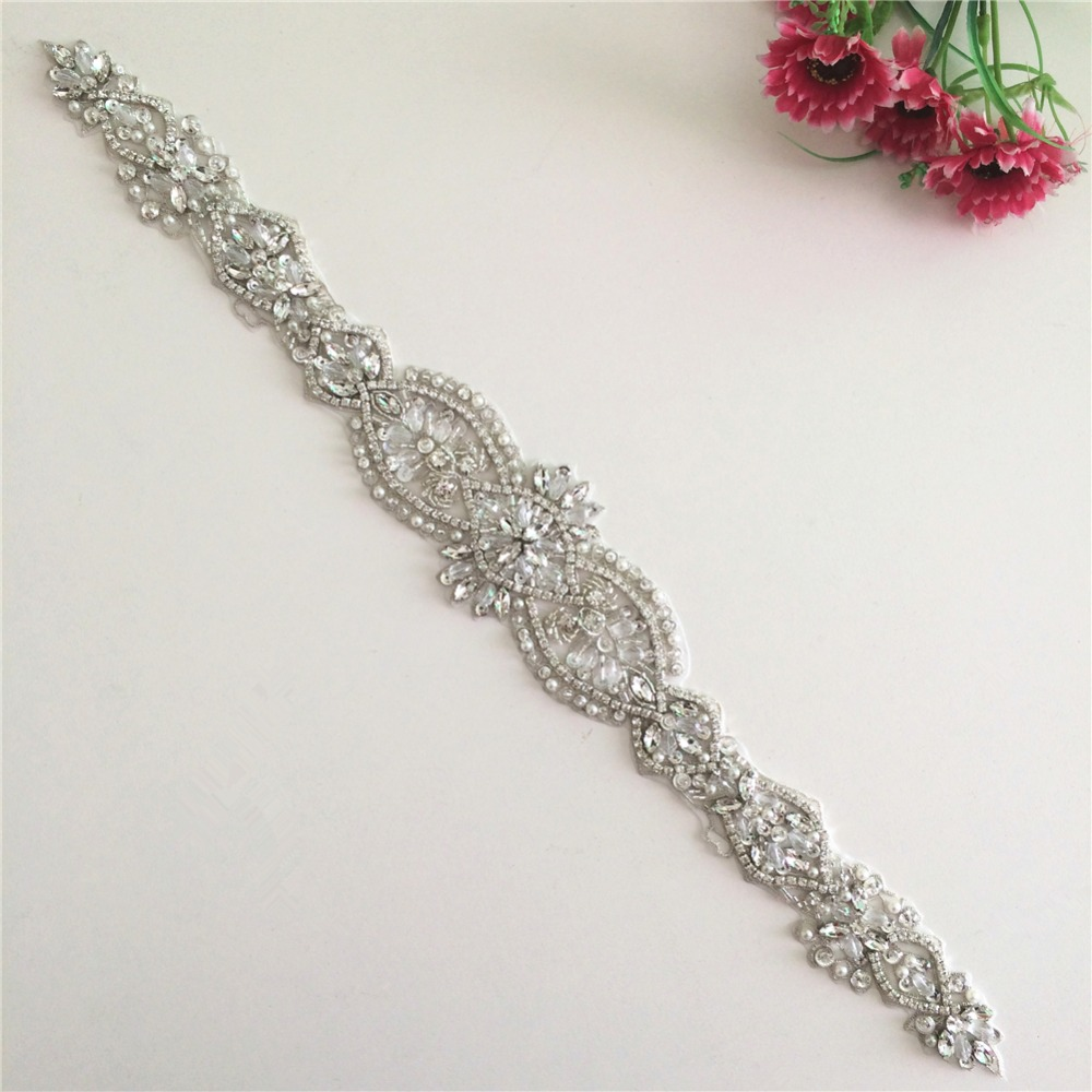 Pearl Diamante Bridal Dress Applique Rhinestone Wedding DIY Ribbon Beaded Motif