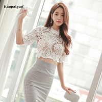 Two Piece Set Women Suit 2018 Smmer White Lace Half Sleeve Blouse Shirt Tops And Pencil