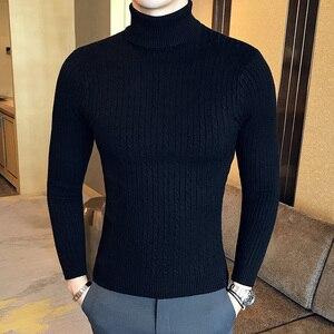 Image 3 - Winter High Neck Dicke Warme Pullover Männer Rollkragen Marke Herren Pullover Slim Fit Pullover Männer Strickwaren Männlichen Doppel kragen