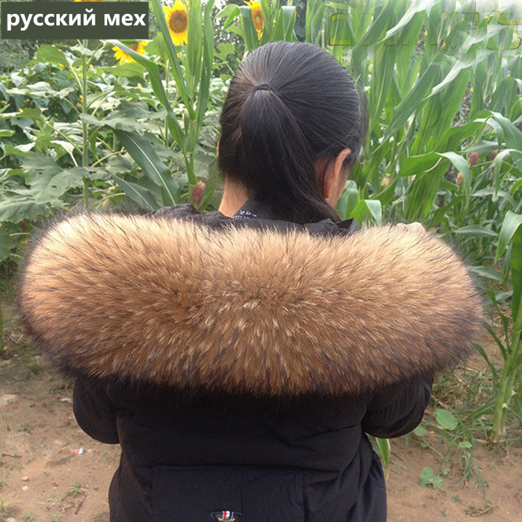 80cm Winter 100% Real Natural Raccoon Fur Collar & Womens Scarfs Fashion Coat Sweater Scarves Oversized Neck Cap