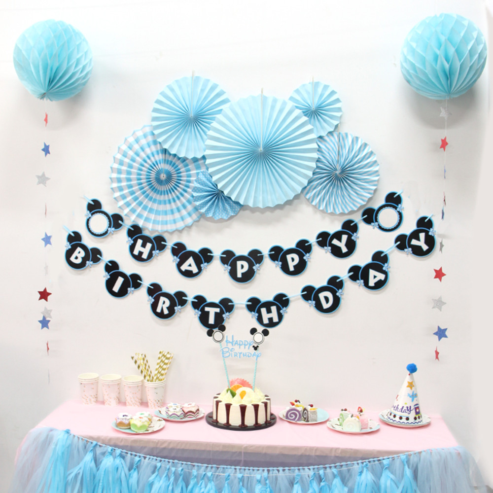 6pcs/lot Blue Flower Hanging Paper Fan Pom Poms Wedding Decoration ...
