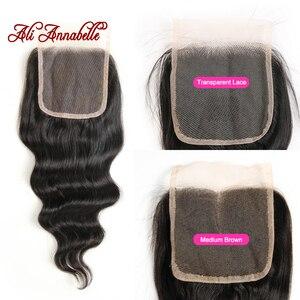 Image 4 - ALI ANNABELL свободные волнистые пучки с застежкой человеческие волосы пучки с застежкой свободные волнистые человеческие волосы с прозрачной кружевной застежкой