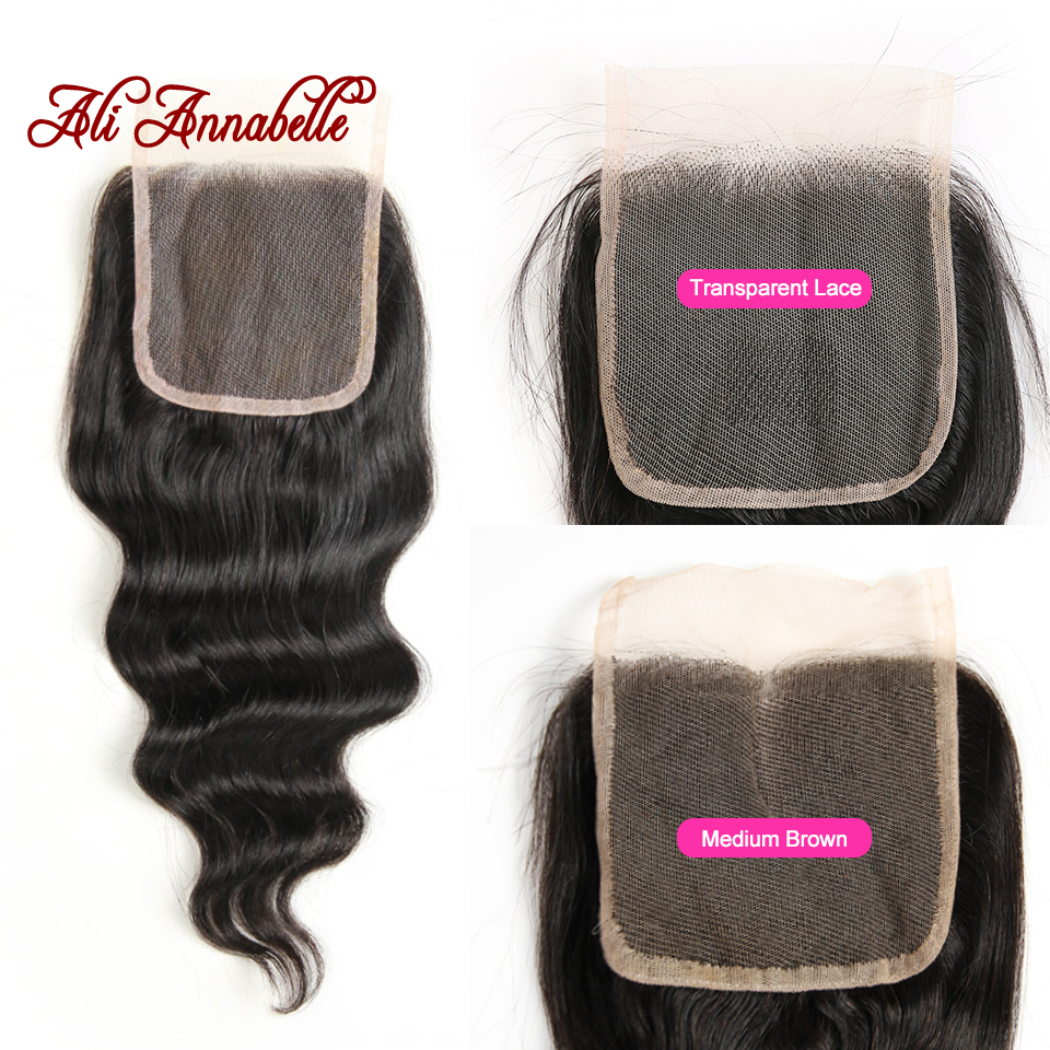 Image 4 - ALI ANNABELLE HAIR Brazilian Loose Wave Lace Closure Free Middle Part 4PCS Human Hair Bundles With Closure Remy Hair Extension-in 3/4 Bundles with Closure from Hair Extensions & Wigs