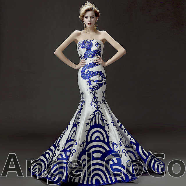 Strapless Mermaid Evening Gown Luxury China Dragon Bra fishtail ...