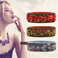Jewelry Woman Bangle Bracelet,Magnetic clasp High-grade Leather Crystal Stones Accessories