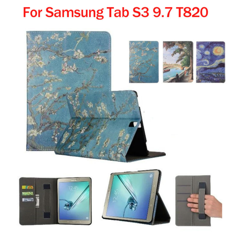 For Samsung Galaxy Tab S3 9.7 T820 PU Leather Case Cover Flower Print Protective Stand Tab S3 T820 9.7 inch Tablet Smart Fundas new luxury pu leather case for samsung galaxy tab s3 9 7 t820 t825 flip stand cover tablet case for samsung galaxy tab s3 t820