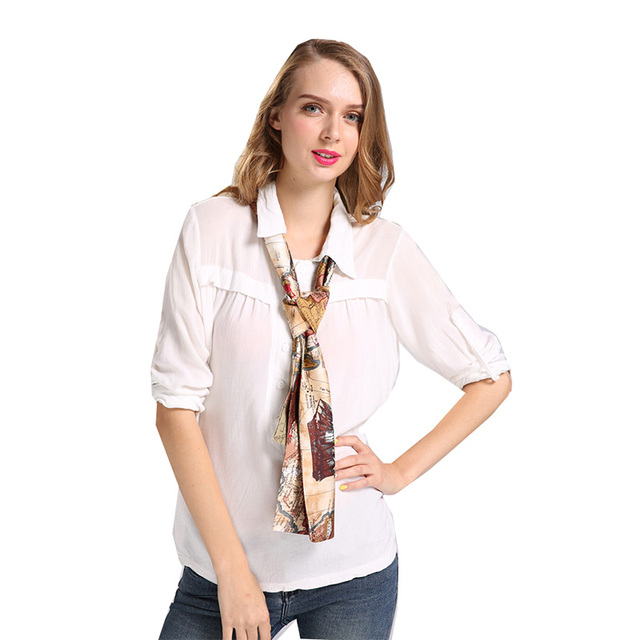 Sparsil Women Autumn Printed Cravat British Style Lady Spring Skin-Friendly Double Layer Cravats All-Match